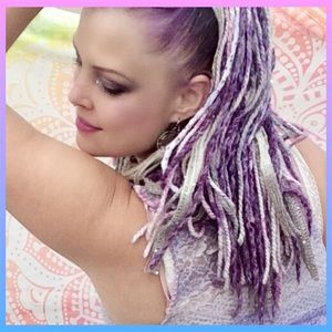 Yarn falls hand-made colorful temp hair extensions